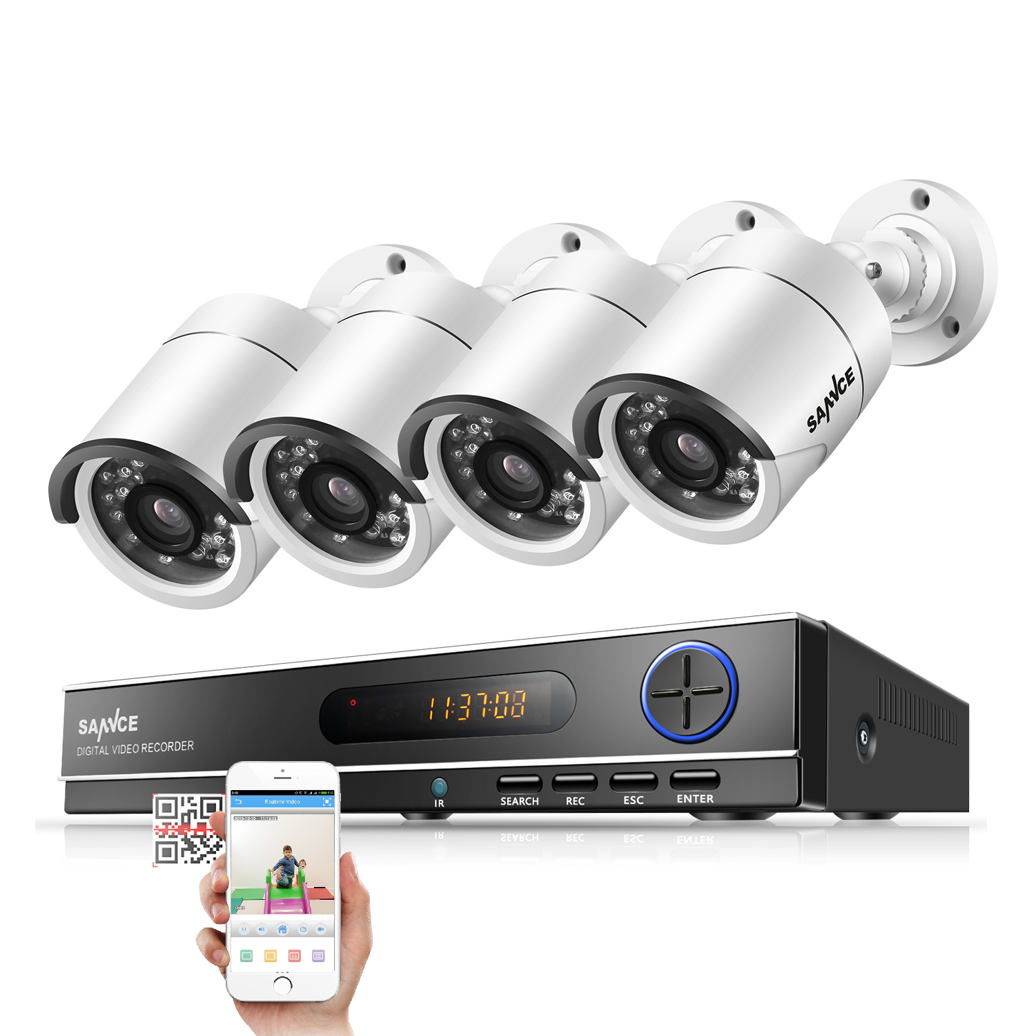 SANNCE 8CH 720P AHD DVR 4PCS 1200TVL IR Night Vision Outdoor CCTV Camera 24 LEDs Home Security CCTV System Surveillance Kit sannce 8ch 720p ahd dvr 4pcs 1200tvl ir night vision outdoor cctv camera 24 leds home security cctv system surveillance kit