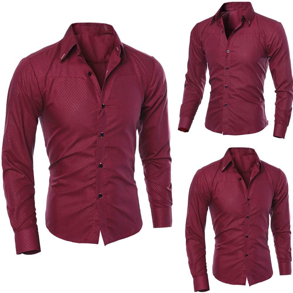 Muqgew Man Long Sleeve Shirts Silk Satin Chemise  Casual Fit Fashion Printed Blouse Casual Long Sleeve Slim Shirts Tops #3