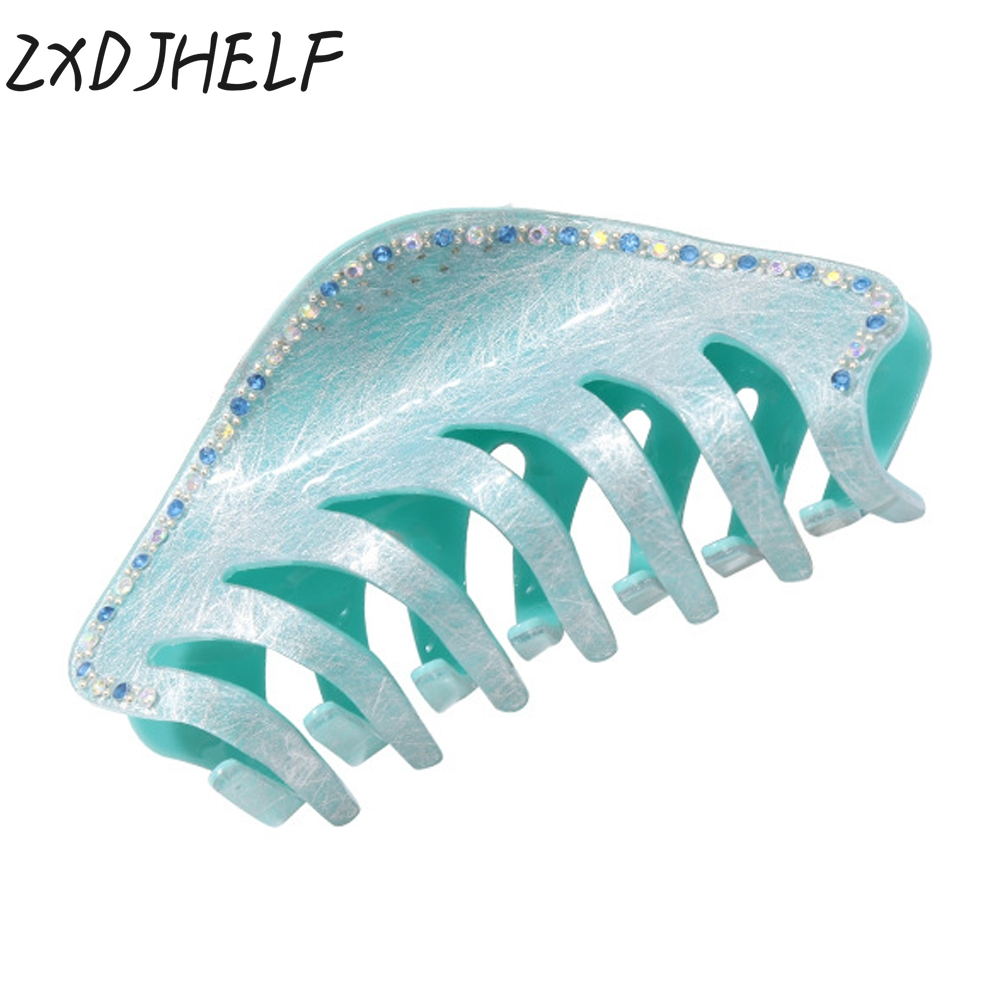 ZXDJHELF Women Large Size Acrylic Hairpins Candy Color Headwear Shiny Crystal Crab Hair Claws For Girl Hair Accessories F163