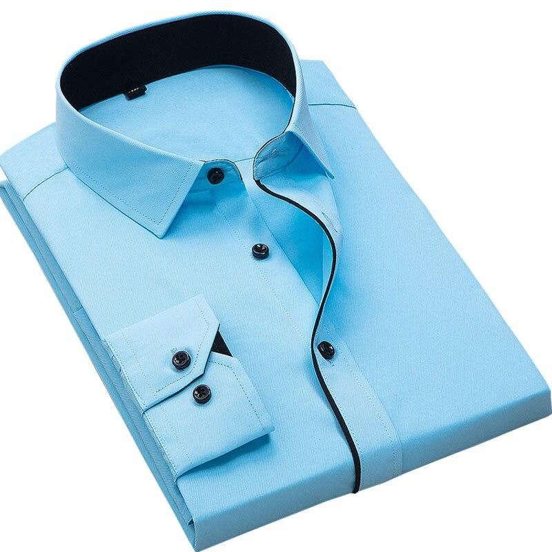 Рекомендуем 2017 хорошо лоскутное черная кнопка отложной воротник Длинные рукава твил деловые мужские рубашки Твердые Мужская Топ