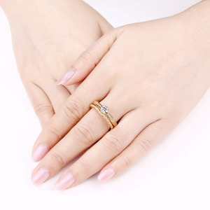 Image 4 - Newshe 2 Pcs Wedding Rings For Women Yellow Gold Color 925 Sterling Silver Classic Jewelry AAA CZ Engagement Ring Bridal Set