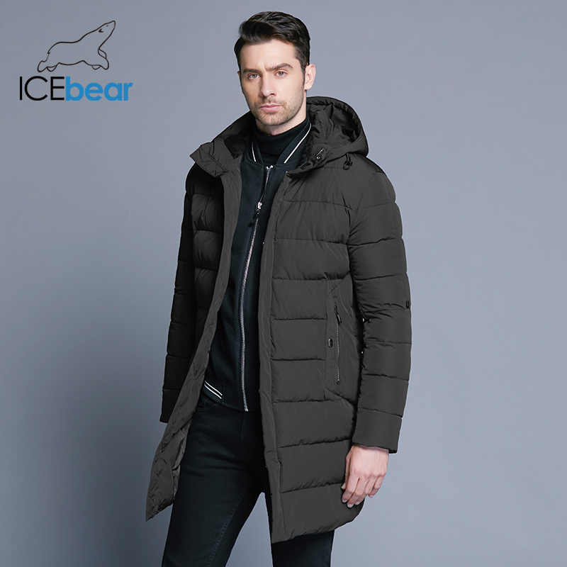 ICEbear 2019 חורף מעיל גברים כובע להסרה חם מעיל סיבתי מעיילי כותנה מרופדת חורף מעיל גברים בגדי MWD18821D