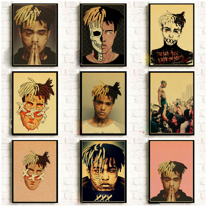 XXXTentacion Rap Hip Hop Music Singer Retro Posters Kraft Wall Paper High Quality Painting For Home Decor Wall Stickers