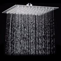 Square Bathroom Stainless Steel Rain Shower Head Rainfall 12 Inch Bath Shower Chrome Top Sprayer High