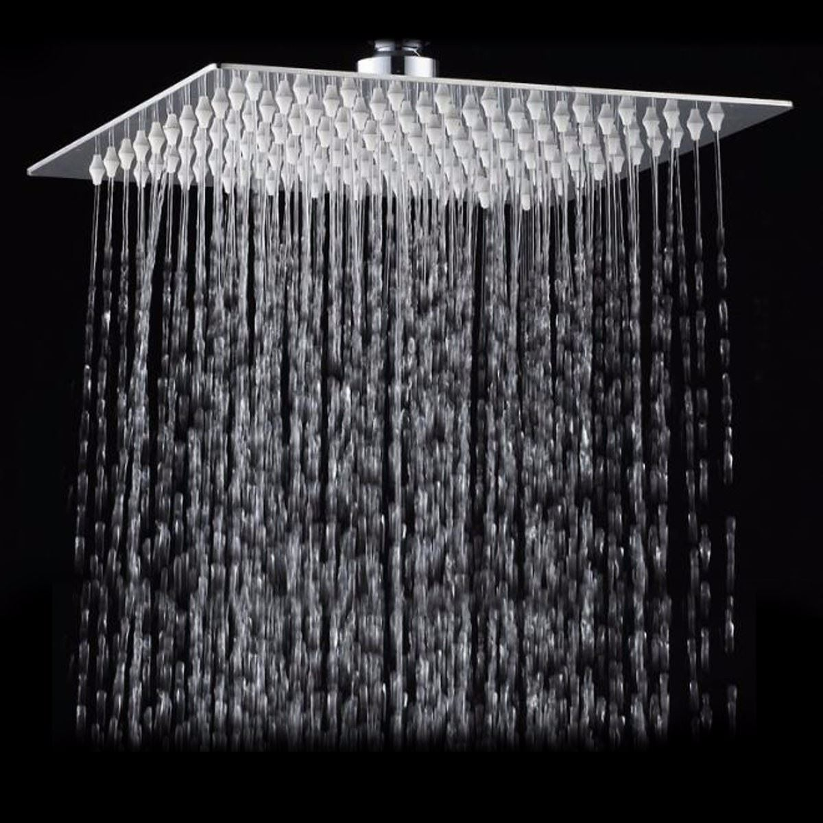 Square Bathroom Stainless Steel Rain Shower Head Rainfall 12 Inch Bath Shower Chrome Top Sprayer High Pressure Rainfall Shower