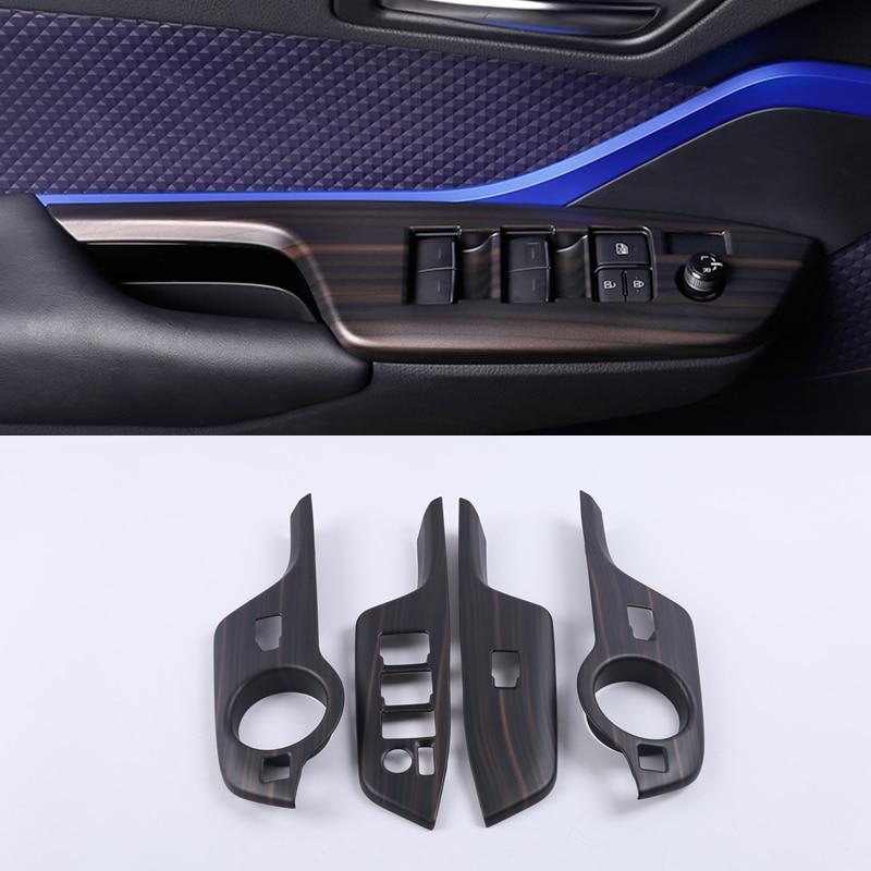 For Toyota C-HR CHR 2016 2017 2018 2019 Blue ABS Accessories Interior Car Door Window Lift Regulator Cover Trim 4PCS