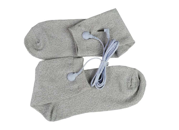 One Size Conductive fiber TENS/EMS electrode Socks Reflexology for physical therapy Massage Socks+2 Kinds of cable(110cm) soothing massage bottom plain socks