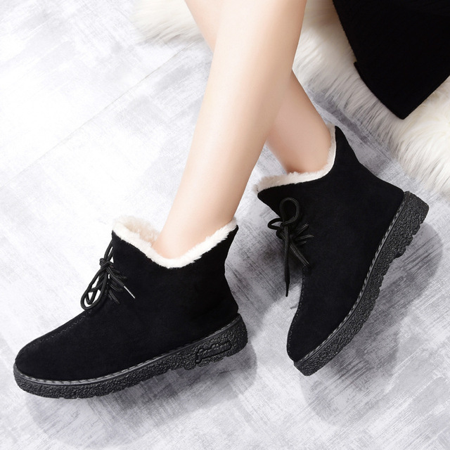 df672ec87bb Women Boots Winter Ankle Boots Women Flat Bottom Low Help Women Shoes Soft  And Comfortable Keep Warm Female Boots 2018