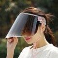 2016 Caliente Nueva Cubierta de Protección Solar Contra los Rayos Uv Al Aire Libre Sun Block lluvia Dom Sombrero Sombreros de Verano Para Mujeres de Montar Motocicleta Visera Impresión