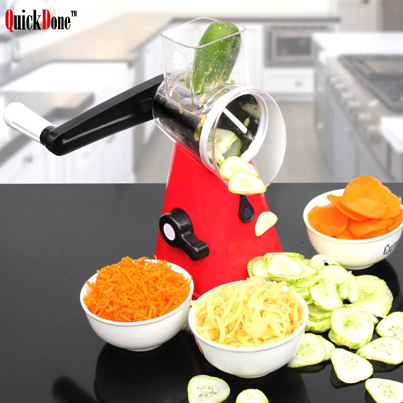 QuickDone Manual Round Mandoline Slicer Vegetable Cutter Potato Julienne Carrot Cheese Grater Stainless Steel Blades AKC6008 切 菜 神器