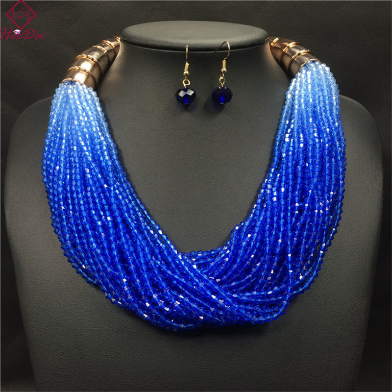 Heeda High-end Elegant Multi-layer Gradient Resin Women Necklace Earrings Set Fashion Pure Handmade Graceful Joker Jewelry Set ...