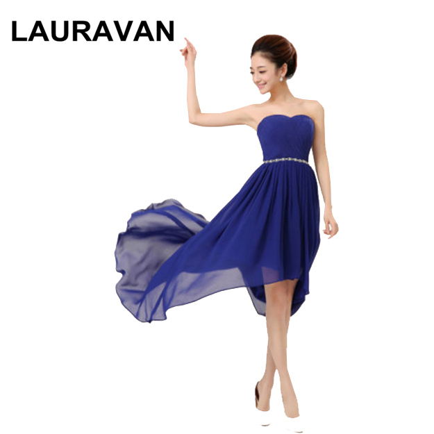 hot&sexy classy fancy ladies woman royal blue purple red pink chiffon simple estidos high low   bridesmaid     dresses   for party   dress