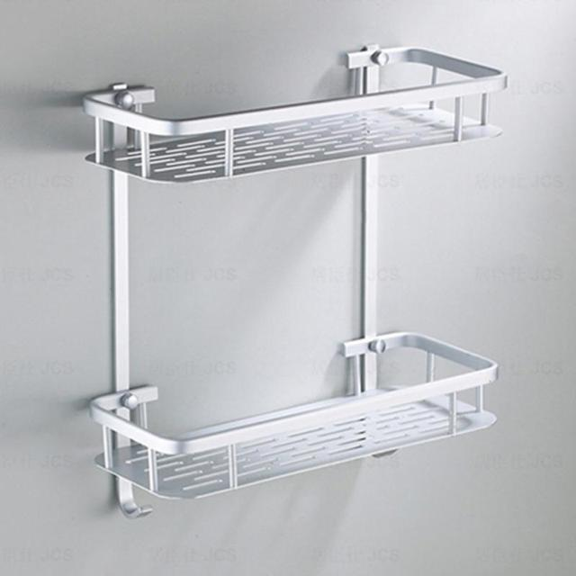 Bathroom Shelves Aluminium Storage Rack Bathroom Shower Bath Holder For Shampoos Shower Gel Kitchen Home Balcony Shelf Hanging Rack Hook