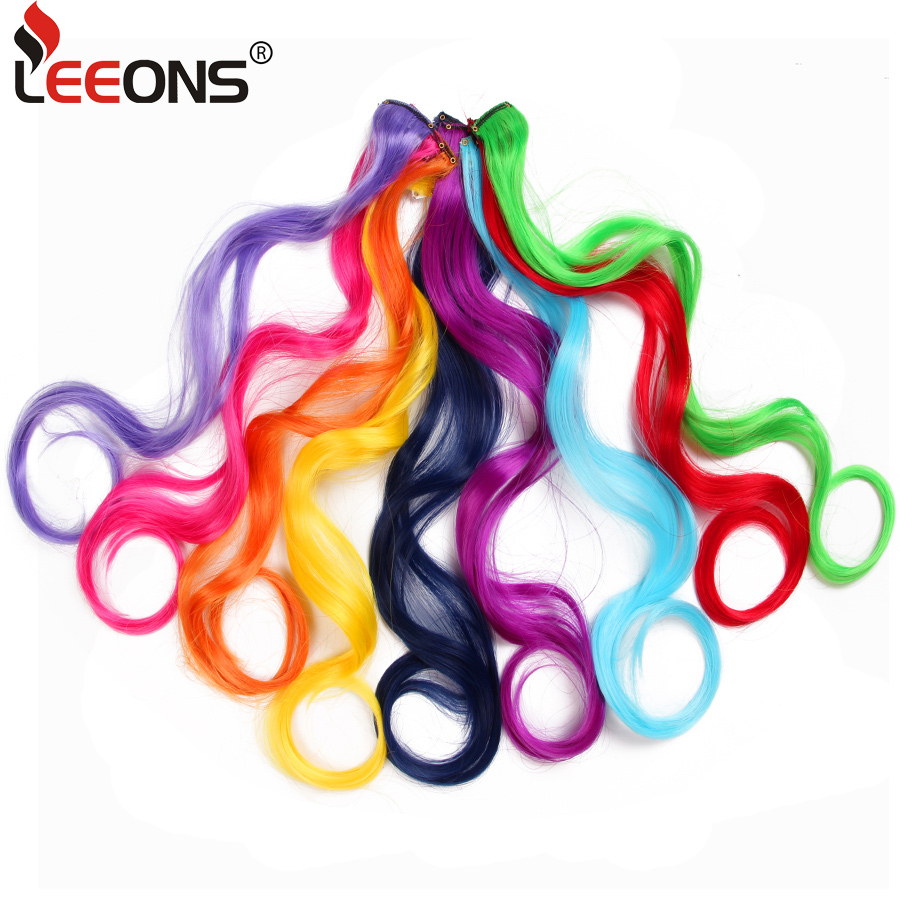 Leeons Synthetic Hair Extensions With Clip Heat Resistant Hair Extensions Rainbow Hair For Kids And Women Wavy Style 20 Inch(China)