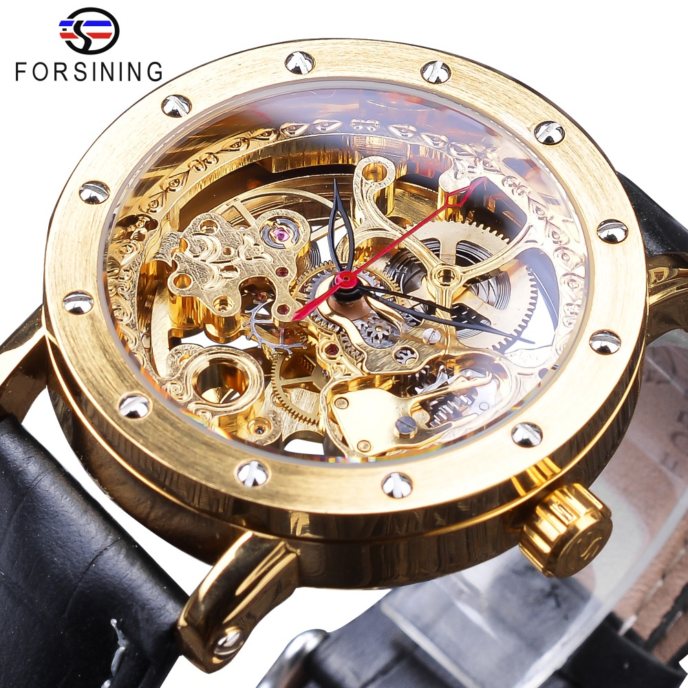 Forsining 2018 Fashion Luxury Golden Watches Black Genuine Leather Band Openwork Clock Mens Automatic Watches Top Brand LuxuryForsining 2018 Fashion Luxury Golden Watches Black Genuine Leather Band Openwork Clock Mens Automatic Watches Top Brand Luxury