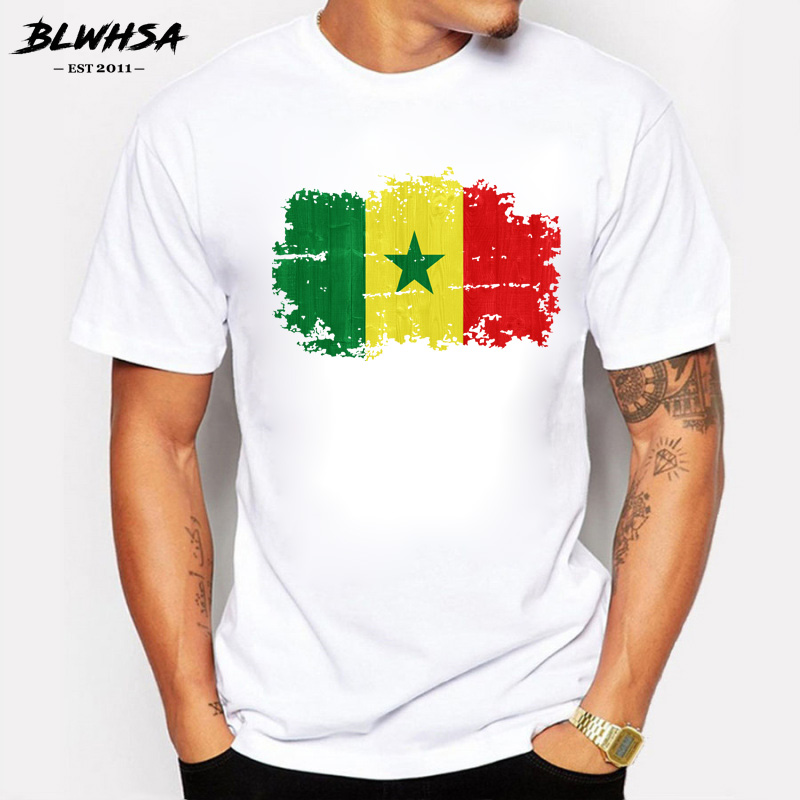 BLWHSA Senegal Flag Nostalgic Style Men T Shirt O-neck Casual T-shirt for Men Short Sleeve Tops Senegal 100% Cotton Tee ...