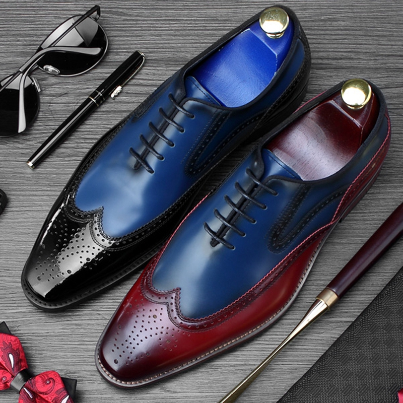 New Luxury Man Carved Brogue Shoes Genuine Leather Formal Dress Party Oxfords Mixed Colors Wedding Office