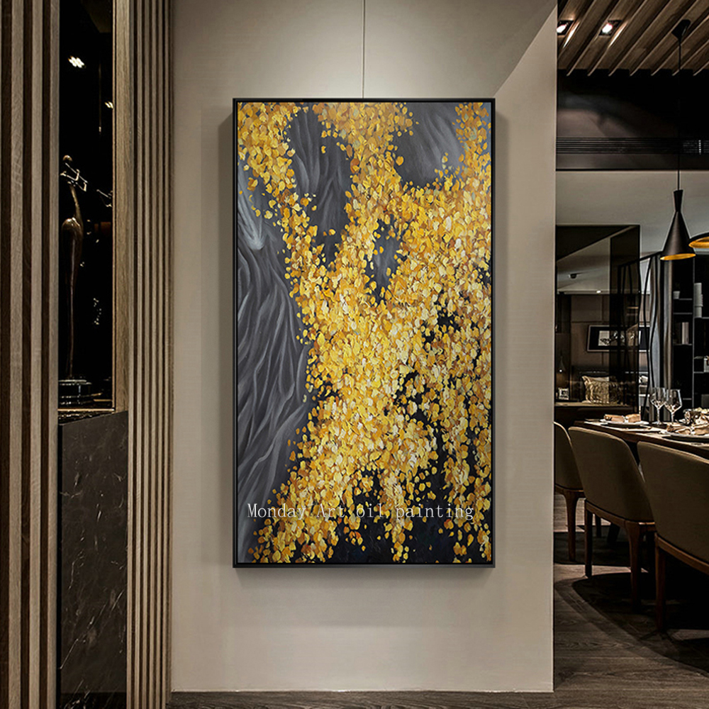 Hand painted Modern Gold abstract Oil Painting on Canvas High Quality Abstract picture for Living Room home Decor Wall Painting in Painting Calligraphy from Home Garden