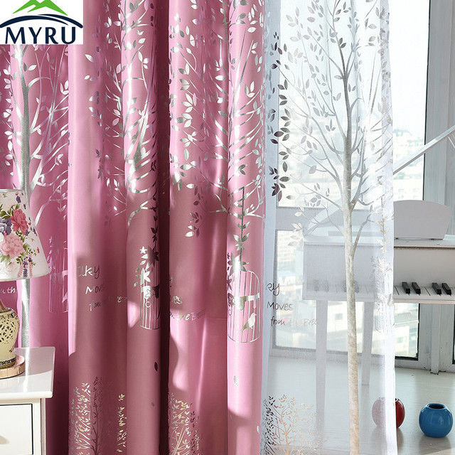 Myru Mediterranean Navy Cloth Curtains Rural Silver Trees Printed Blackout Curtians Pink Curtain Green For Living Room