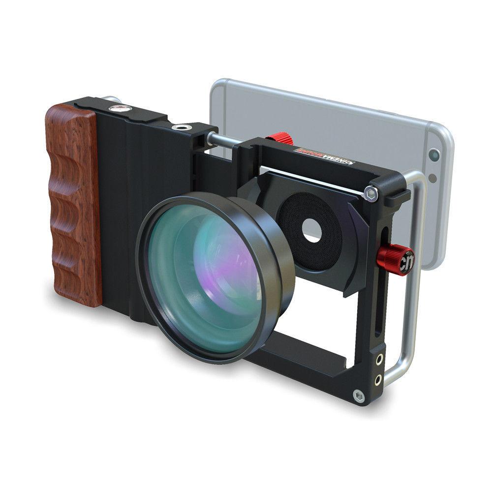 Cage de saisie en palissandre pour téléphone intelligent à montage cinéma + objectif Macro grand Angle + filtre + support pour iPhone 6 5 Samsung HTC