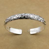 999 Sterling Silver Charm Flower Biker Rokcer Punk Bracelet Bangle 9A014