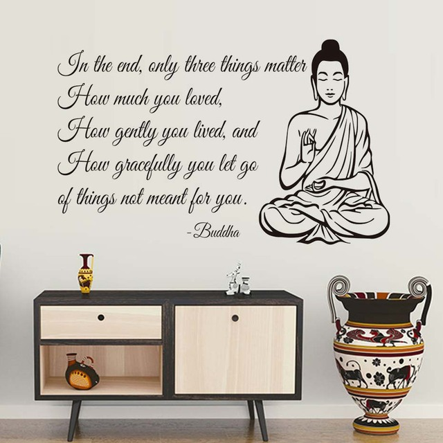 Wall Decals Only Three Things Matter Yoga Gym Decor Buddha Quote