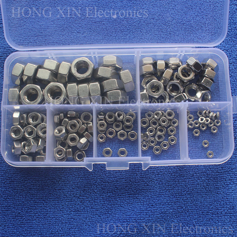 140pcs M2/M2.5/M3/M4/M5/M6/M8 Stainless Steel Hex Lock Nuts Assortment Kit Set PC tool Hot Sale Free shipping High-quality