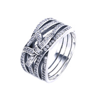 Authentic 925 Sterling Silver Ring Delicate Sentiments Ribbon Twisting Rings For Women Wedding Party Gift Fine