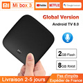 Global Version Xiaomi TV Box 3 Smart Android 8.0 4K 60fps Amlogic S905X Cortex-A53 Quad Core Set Top Box 2GB 8GB Xiaomi Mi Box 3