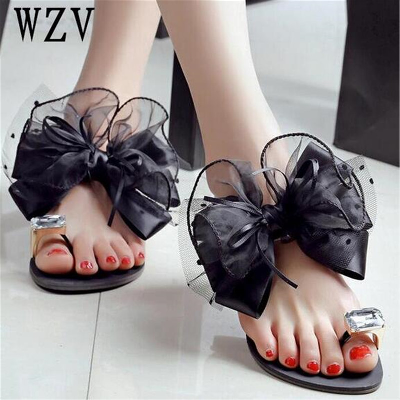 2018 New Women Sandals Plus size 42 Ladies Summer bowknot Slippers Shoes flat Sandals Fashion Rhinestone summer Women shoes B154 2018 new summer women sandals shoes fashion comfortable girls sandals footwear flat sexy causal ladies solid women shoes est1009