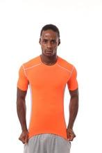 ELI22 18307 фитнес спортивные футболки Твердые Мужская, с коротким рукавом футболки одежда для бега тренажерный зал дышащий компрессионный Быстросохнущий
