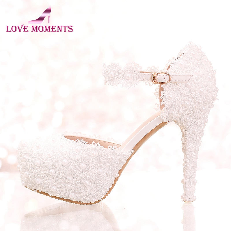c470c8e73 White Lace Flower Bridal Shoes High Heel Round Toe Fashion Wedding Pumps  with Ankle Straps Women Sandals Bridesmaid Shoes