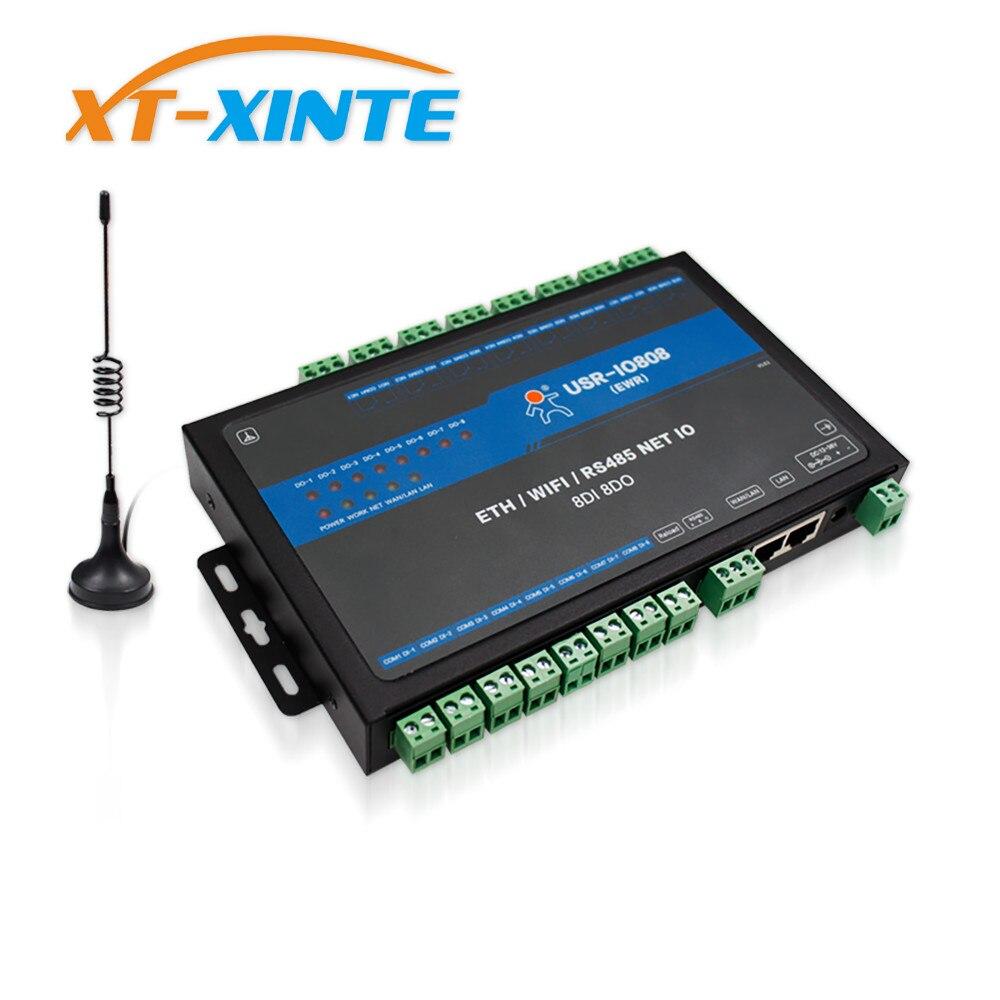 USR IO808 EWR 8 Way Network IO Controller Remote Control RS485 Switch Modbus TCP/RTU MQTT/Socket Cloud transmission Protocol