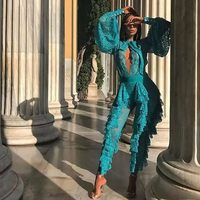 Elegant Lace Jumpsuit 2018 Newest Fahshion Green Long Sleeve Hollow Out Romper Women Celebrity Evening Party Jumpsuits Vestidos