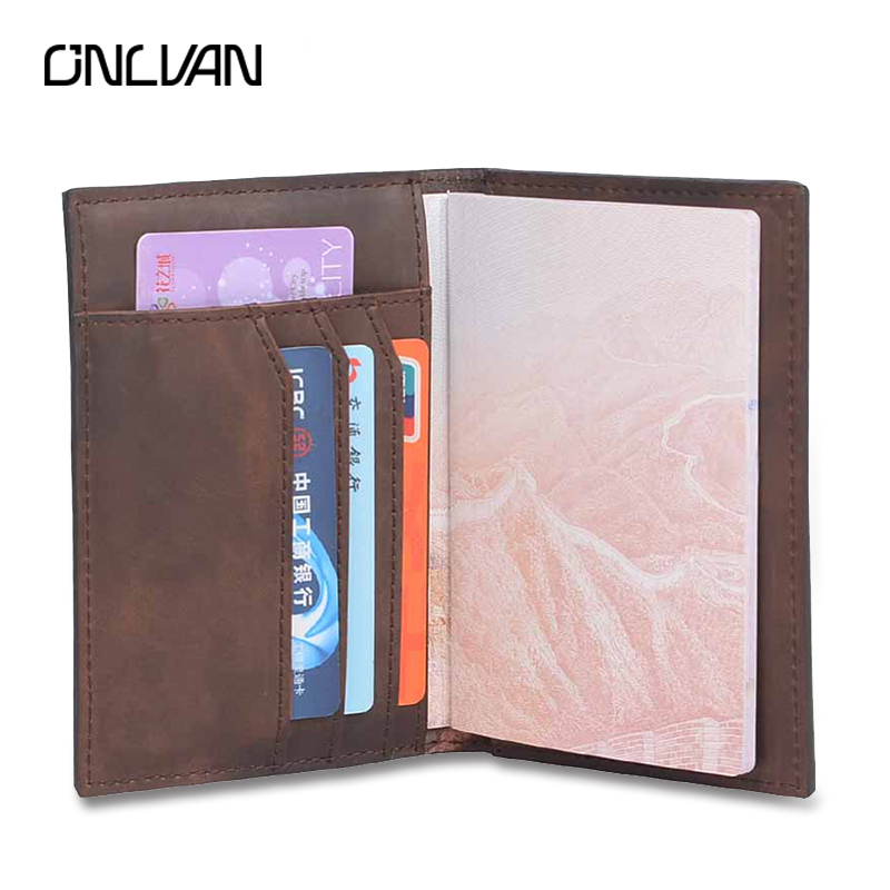 ONLVAN Men Passport Covers Solid Credit Id Card Folders Handmade Passports Holder Case Travel Accessories Passport Wallets