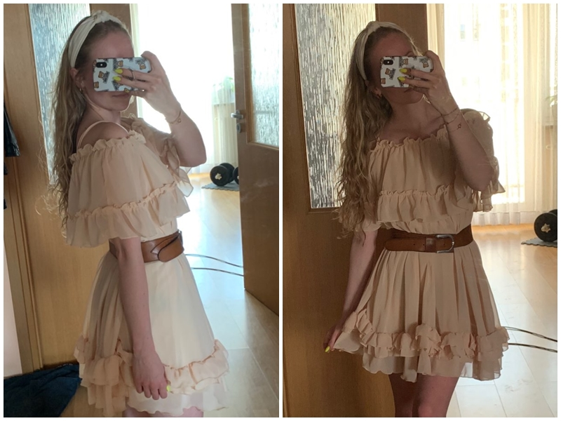 HTB17neWavc3T1VjSZLeq6zZsVXa4 - BeAvant Off shoulder strap chiffon summer dresses Women ruffle pleated short dress pink Elegant holiday loose beach mini dress