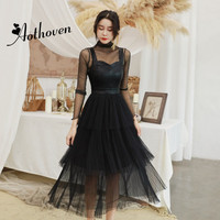 2 Piece Set Autumn 2018 Women Full Sleeve Turtleneck Shirt Top and PU Patchwork Black Mesh Dress Office Party Suit Two Piece Set