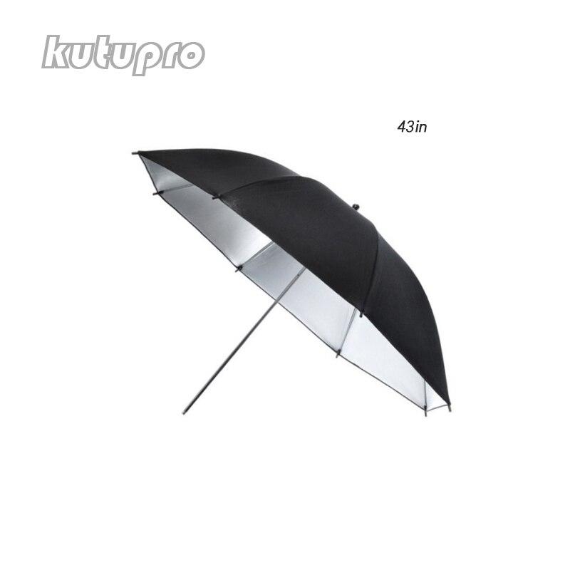 "Kutupro 1 PCS 43""/110cm Professional Photography Studio Reflective Lighting Black Silver/White Translucent Lambency Umbrella"