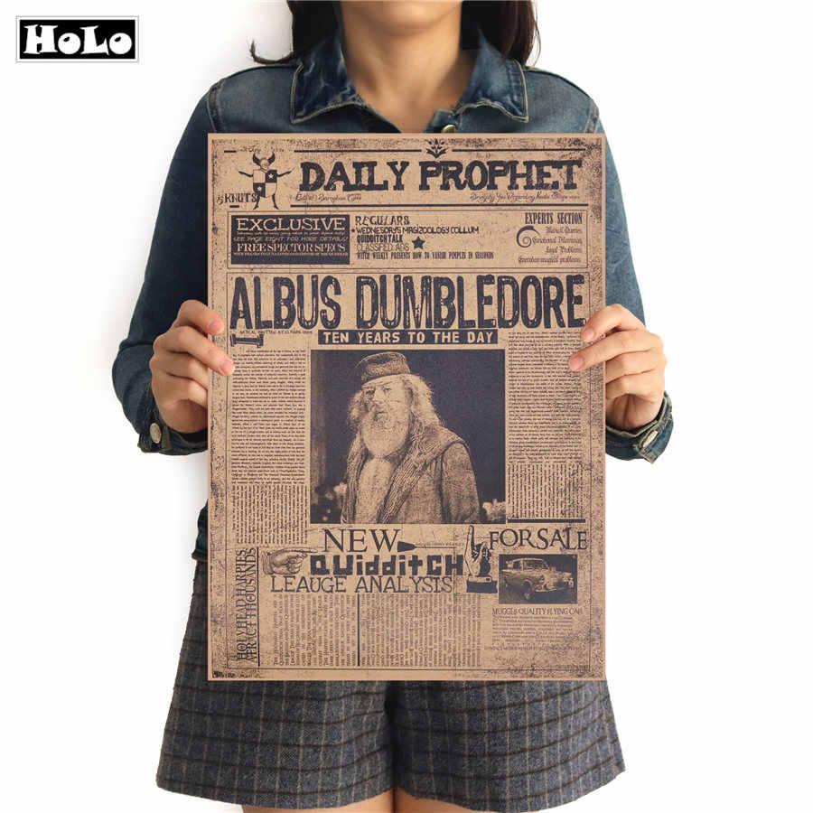 VINTAGE กระดาษคราฟท์โปสเตอร์ภาพยนตร์ Magic Albus Dumbledore ภาพยนตร์รูปภาพสติกเกอร์บาร์ Cafe พิมพ์ภาพวาด FTD 42.5x30.5 ซม.