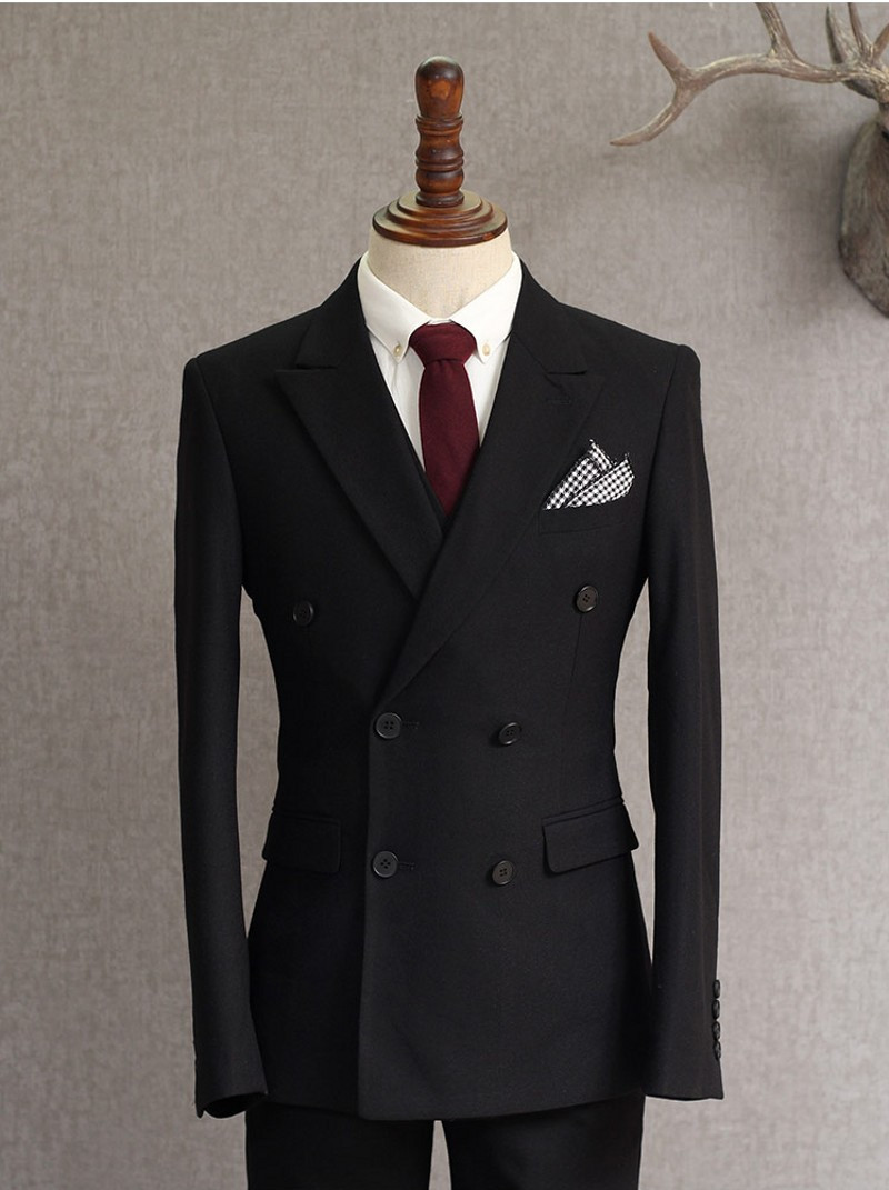 Black Double Breasted (Jacket+Pants) 2 Pieces High Quality Mens Suits Custom Made Best Men Suits Wedding Groom Tuxedos