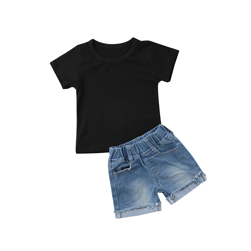 Fashion Casual Summer 2PCS Toddler Baby Boys Cotton Short Sleeve O-Neck Pullover Black Shirt Tops Denim Shorts Outfit 1-6Y