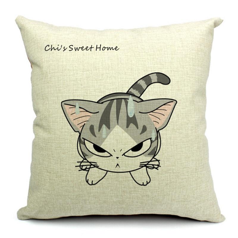 comprar nueva llegada fundas de cojines decorativos hogar pequeo gato patrn de impresin de algodn de lino cama cojines almofadas de