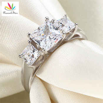 Peacock Star Three-Stones Solid 925 Sterling Silver Wedding Anniversary Engagement Ring Jewelry CFR8008