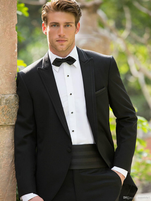 New Collection Custom Made Black Simple Medern Groom Tuxedos Wedding ...