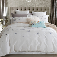 100 Cotton Butterfly Bedding Set White Embroidered Bedroom Duvet Cover Set King Queen Size With Bed