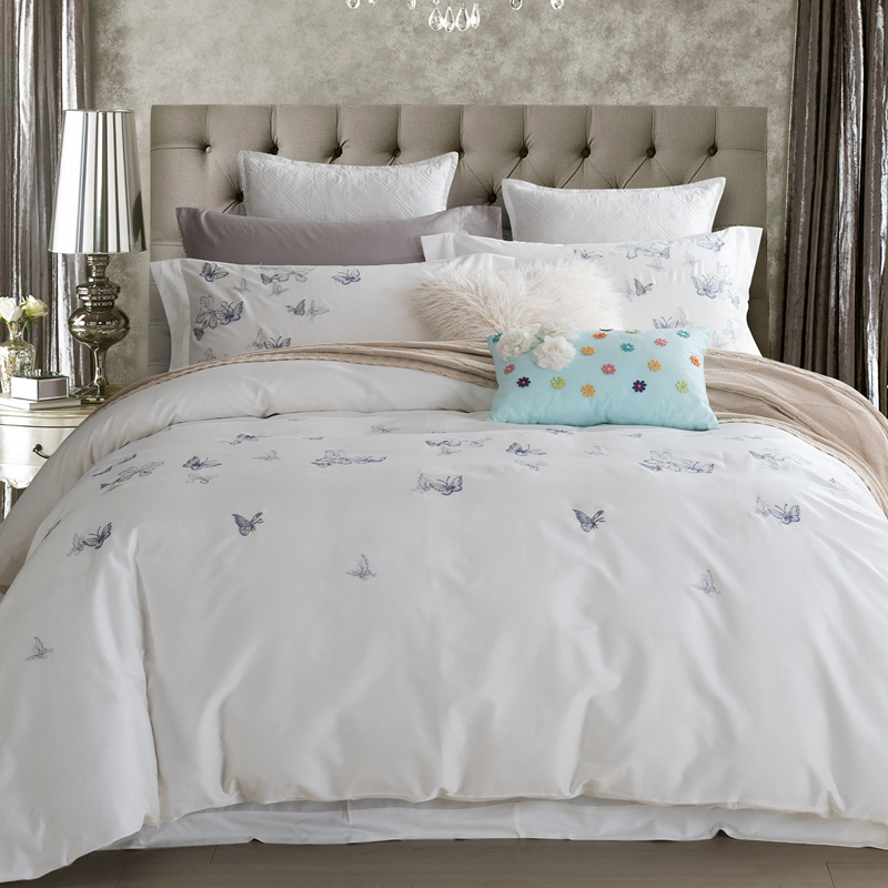 100 cotton butterfly bedding set white embroidered for Housse de couette king size
