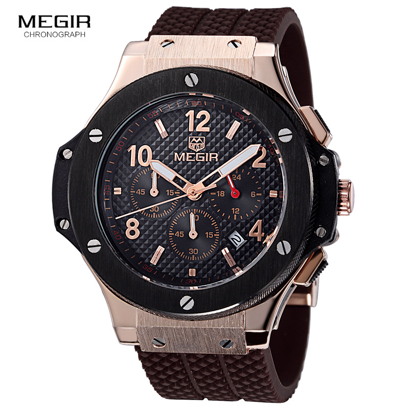 Megir hot fashion chronograph army quartz watches men luminous military sports silicone watch wristwatch man 3002G free shipping hot theme masonic freemason freemasonry g pocket watch men gift watch free shipping p1198