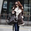 2017Trench Coat For Women 2015 New Winter Fashion Style Fleeces Suede Long Sleeve Slim Thick Coat Casacos Feminino XQ547
