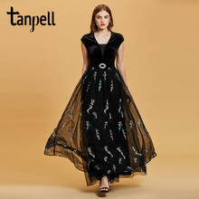 Tanpell embroidery evening dress black v neck cap sleeves floor length a line gown women beaded prom formal long evening dresses(China)