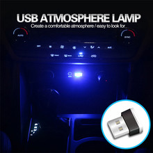 Biru Neon Suasana Ambient Lampu Portable Mini USB LED Mobil Interior Lampu(China)